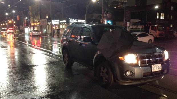 At least 20 pedestrians were struck by cars Tuesday night as rain battered the city.