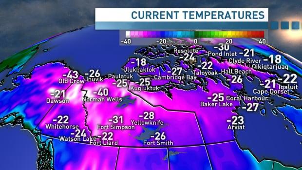 Evening temperatures in the North, Dec. 7