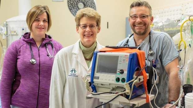 Respiratory therapist Laura Vanbomme, Dr. Alison Fox-Robichaud and registered nurse Jim McDonald, left to right, are members of the rapid-response team at Hamilton General Hospital.