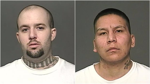 Michael Tylor Fless, left, and James Andrew Jewels are wanted by police in connection with two recent shootings in Winnipeg, one of which turned out to be fatal.