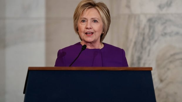 Former Secretary of State Hillary Clinton is shown speaking on Capitol Hill on Thursday in Capitol Hill.