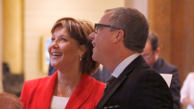 British Columbia Premier Christy Clark and Saskatchewan Premier Brad Wall at the First Ministers' Meeting in Ottawa on Friday. Clark and Wall are opposed to parts of the national climate deal.
