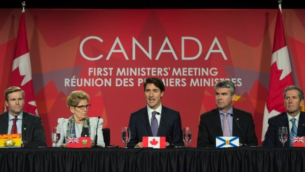 Prime Minister Justin Trudeau announced a 'pan-Canadian framework' to counter climate change during a closing news conference with the premiers in Ottawa late Friday, but he could not get unanimous agreement.