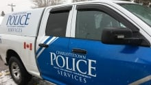 Charlottetown Police Services logo on side on vehicle winter