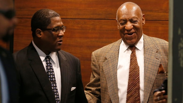 Bill Cosby laughs as he exits the elevator as he returns to court for a  pretrial hearing in his sexual assault case at the Montgomery County  Courthouse in ...