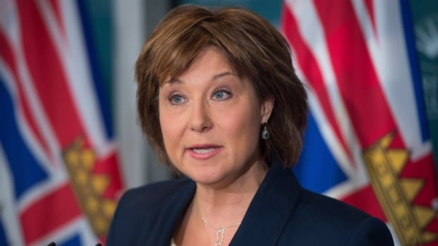 British Columbia Premier Christy Clark, seen here in a November 2016 press conference, announced she will no longer receive a $50,000 stipend from the B.C. Liberal Party.