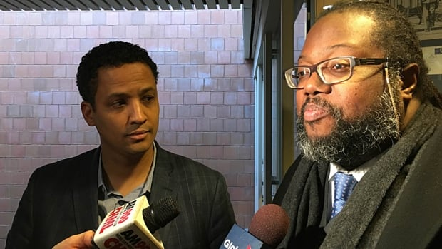 """""""I know how I felt,"""" says Coun. Matthew Green, left, with Toronto civil rights lawyer Selwyn Pieters. """"I felt targeted. I felt like it was an arbitrary stop."""""""