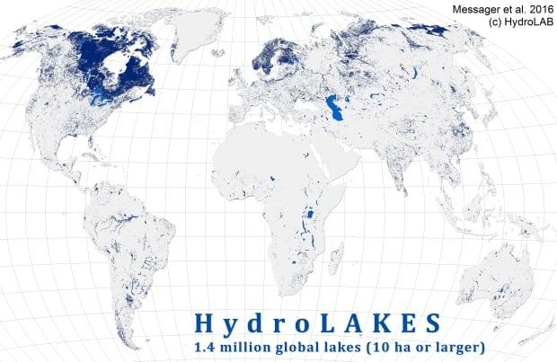 Worldwide lakes map