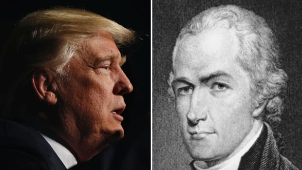 U.S. president-elect Donald Trump, left, is shown next to an undated etching of Founding Father Alexander Hamilton. So-called Hamilton Electors have a Monday deadline to persuade as many as 37 Republican electors to  disregard their obligation to vote for Trump.