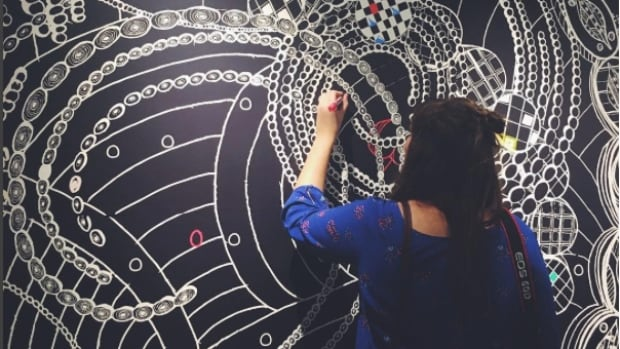 Artist Angela Gooliaff's latest installation invites the public to colour in her art.