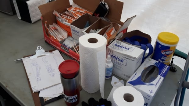 Supplies at a pop-up overdose prevention site on the Downtown Eastside. As the overdose crisis continues in B.C., volunteers are calling for more people to come to the Downtown Eastside and help them.