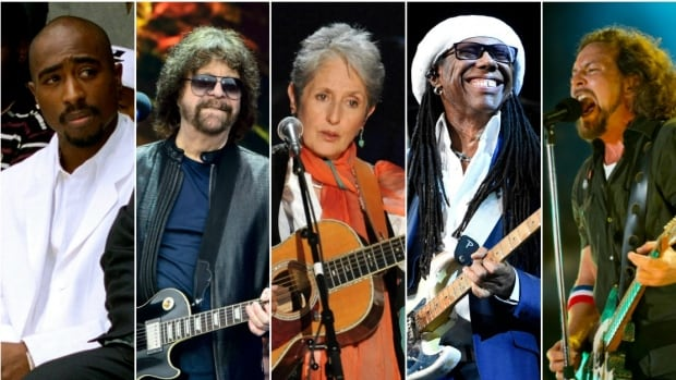 The latest class of Rock and Roll Hall of Fame inductees includes, from left, the late rapper Tupac Shakur, Electric Light Orchestra, folkie Joan Baez, Chic's Nile Rodgers and Seattle-based rockers Pearl Jam.