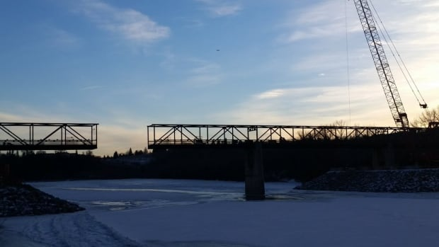 Crews completed the removal of the first of nine sections of the Cloverdale Bridge Monday.
