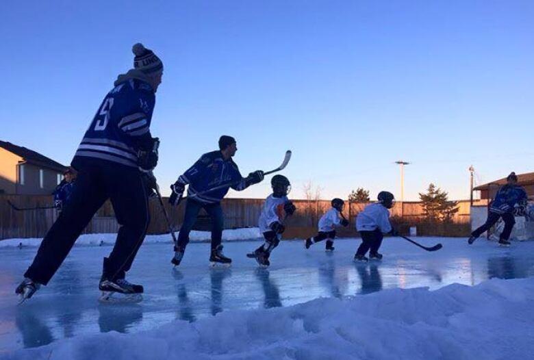A Family Backyard Rink In Saskatoon. (Jeff Clezy)