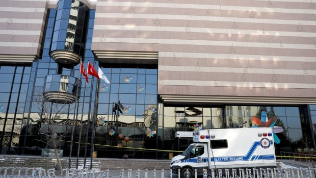 A Turkish police forensic vehicle is parked outside the art gallery where Andrei Karlov, the Russian ambassador to Turkey Andrei Karlov, was gunned down on Dec. 19.