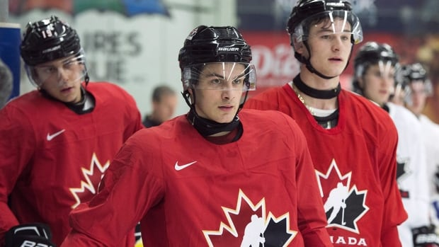 Canada is looking to returning players, from left, Dylan Strome, Mathew Barzal and Julien Gauthier to improve on last year's disappointing result at the world juniors.