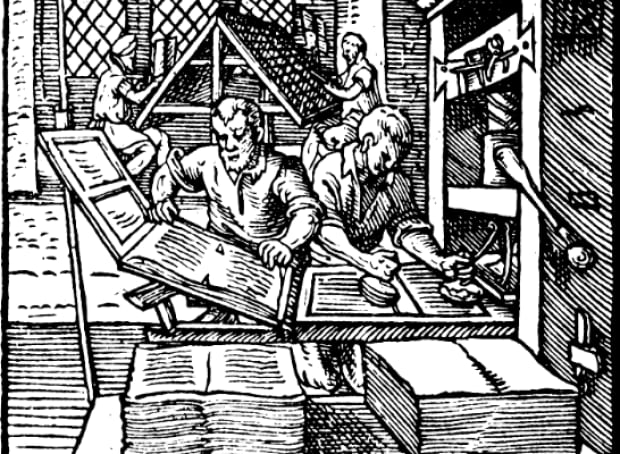 Woodcut of printing press