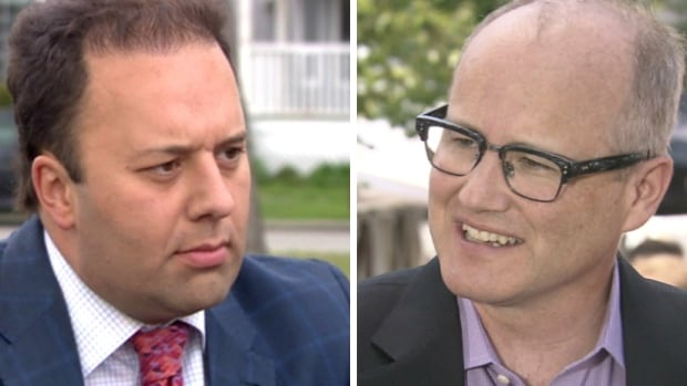 Former PC cabinet minister Jonathan Denis (left) is representing Alan Hallman in a lawsuit against political strategist Stephen Carter (right). The lawsuit is over Carter's assertion that Hallman used profanity at the PC policy convention in November.