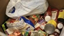 Canned goods in bin