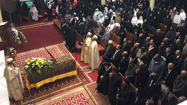 A Toronto Ethiopian Orthodox Church was packed for the funeral of running legend Miruts Yifter.