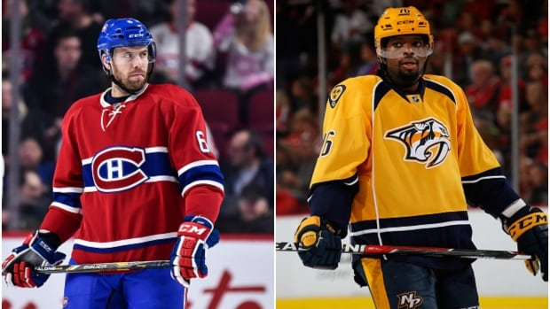 Montreal Canadiens defenceman Shea Weber, left, will face his former team in Nashville on Jan. 3.