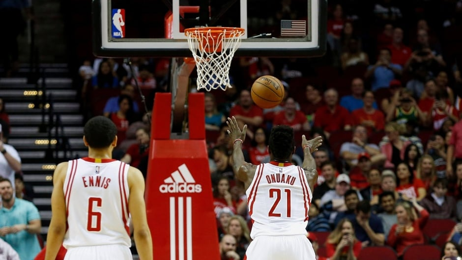 Houston Rockets forward Chinanu Onuaku (21) shoots his free throws underhanded in the second half of an NBA basketball game on Monday, Dec. 26, 2016 in Houston.