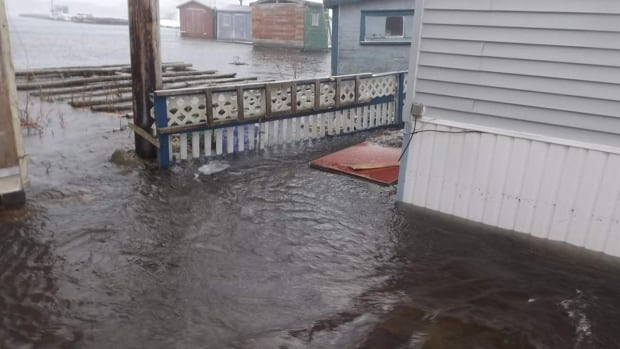 This photo shows flooding and damage to a property in Ramea during storm surges on Dec. 16.
