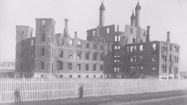An empty brick shell was all that remained of the Halifax Poor House after the 1882 fire that claimed the lives of 30 people.