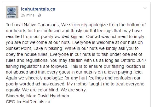 Ice Hut Rentals apology