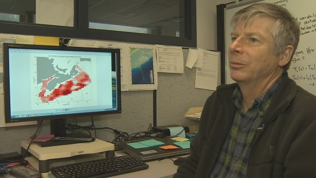 DFO research scientist Dave Hebert sits at his desk with the latest data on warming temperatures in ocean waters off Atlantic Canada.