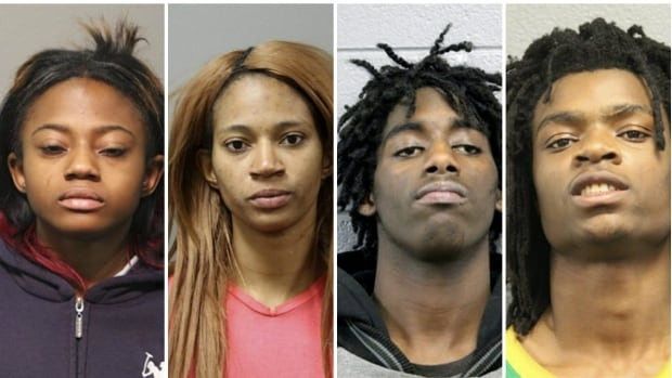 Booking photos provided by the Chicago Police Department show, from left: Brittany Covington, 18; Tanishia Covington, 24; Jordan Hill, 18; and Tesfaye Cooper, 18. Hate crime and battery charges have been filed against the four, accused of beating a mentally disabled white man and broadcasting the attack live on Facebook.