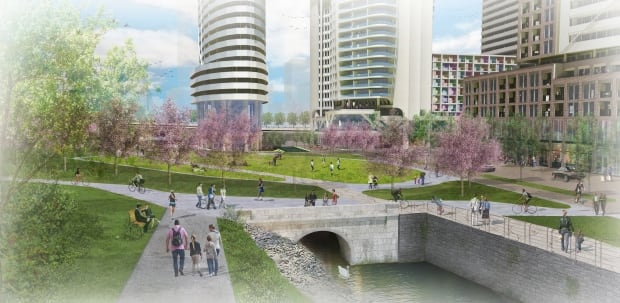 Artist's rendering of park proposed for Claridge's LeBreton Flats development