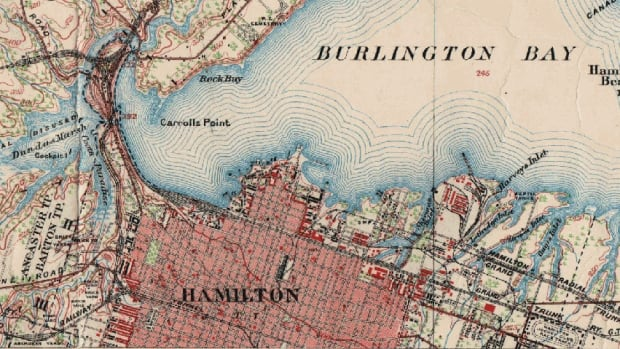 This 1909 map shows a dramatically different waterfront, as well as a number of inlets in north and south Hamilton. In fill has since created Hamilton's industrial area and most of the North End, and most of its inlets are filled.