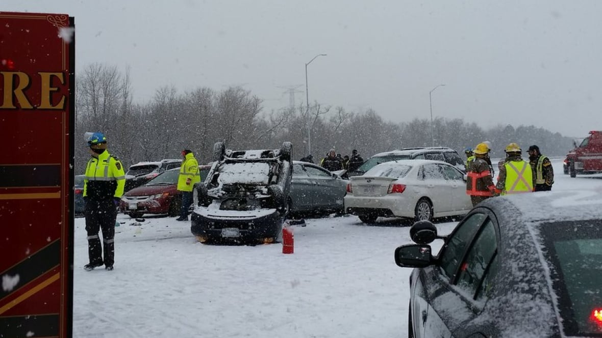 Highway 401 reopens in Bowmanville after multiple crashes involving more than 100 vehicles