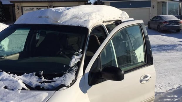 Jonathan McCullough says he had between 7 and 10 centimetres of snow on the roof of his minivan when he received a nearly $240 ticket for driving with an unsecured load.