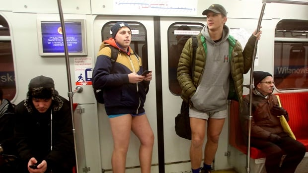 Yes, those TTC subway riders aren't wearing any trousers