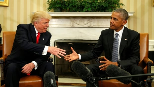 In a series of tweets, Donald Trump, left, suggested now-former president Barack Obama was behind a plot to upend his election campaign through wiretapping, a claim an Obama spokesman called 'simply false.'