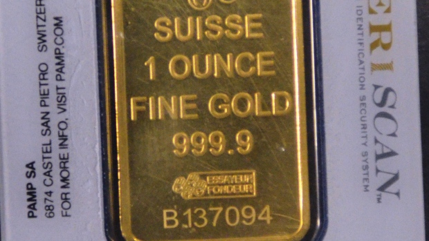 Back view of counterfeit gold being sold in Edmonton.