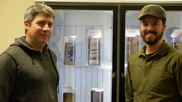 Fabrice Calmels and Louis-Philippe Roy, researchers at Yukon College, devised a way to preserve and display permafrost core samples. Two samples have been sent to the Canadian Museum of Nature in Ottawa, for its soon-to-open Arctic gallery.