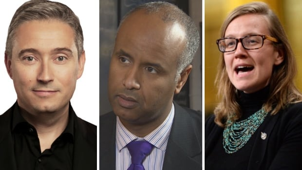 Quebec MP François-Philippe Champagne will serve as minister of international trade, left, Canada's new immigration minister, Ontario MP Ahmed Hussen, centre, and minister of democratic institutions, Ontario MP Karina Gould, right, will join Prime Minister Justin Trudeau's cabinet.