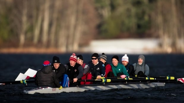 As part of an effort to engage their alumni, Rowing Canada invited them to take the team's new eight-person boat out for a spin on Elk Lake near Victoria on New Year's Day.