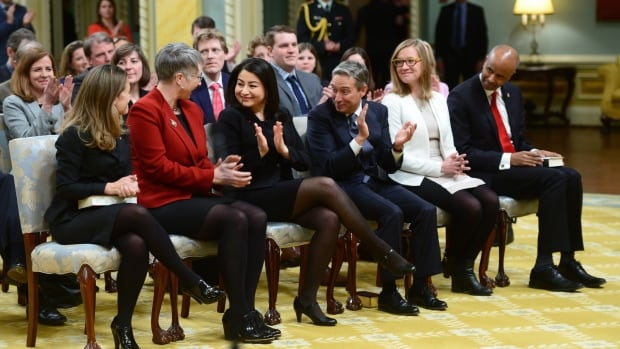 From left to right: Minister of Foreign Affairs Chrystia Freeland, Minister of Labour Patty Hajdu, Minister of State for the Status of Women Maryam Monsef, Minister of International Trade Francois-Philippe Champagne, Minister of Democratic Institutions Karina Gould, and Minister of Immigration, Refugees and Citizenship Ahmed Hussen are applauded after being sworn in at Rideau Hall on Tuesday.