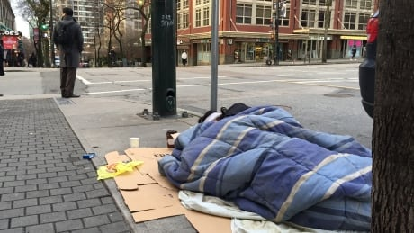 Cold homeless person sleeping on street