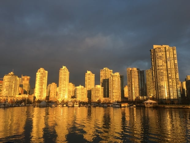 False Creek condos at sunrise in Vancouver
