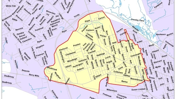 The city of Moncton has issued a precautionary water boil advisory to residents in the areas marked in yellow.