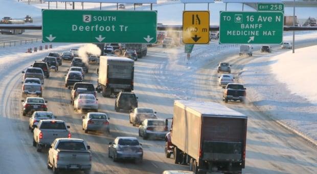 Deerfoot Trail Winter Calgary Traffic
