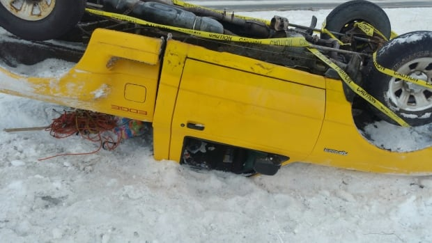 This yellow Ford Ranger rolled over on the Trans-Canada Highway near Holyrood, according to the RCMP.