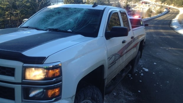 A large piece of ice came off the top of a cargo van driving through Ferndale, smashing the windshield of a pickup truck, Placentia RCMP say.