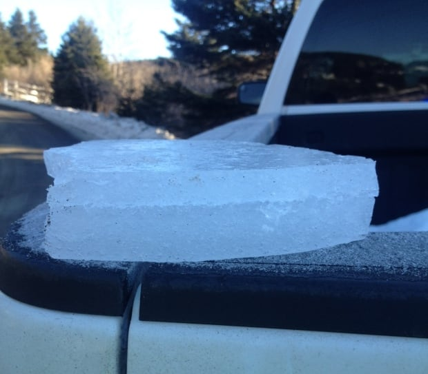 Ice smashes windshield of truck in Placentia