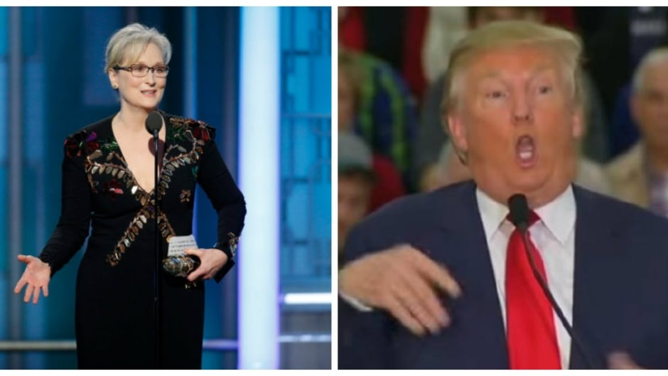 On the left, Meryl Streep refers to Donald Trump's mocking of disabled reporter Serge Kovaleski (who she does not name), in January 2017. On the right, a screenshot of Donald Trump while mocking Kovaleski, in November 2015.